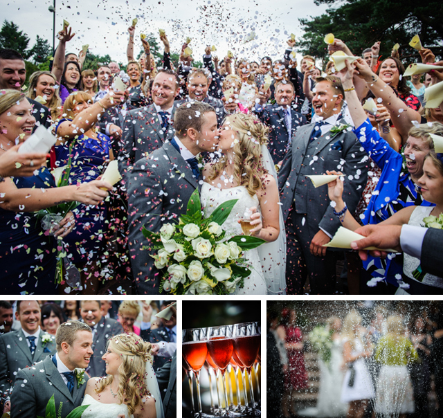 wedding confetti at cheshire wedding