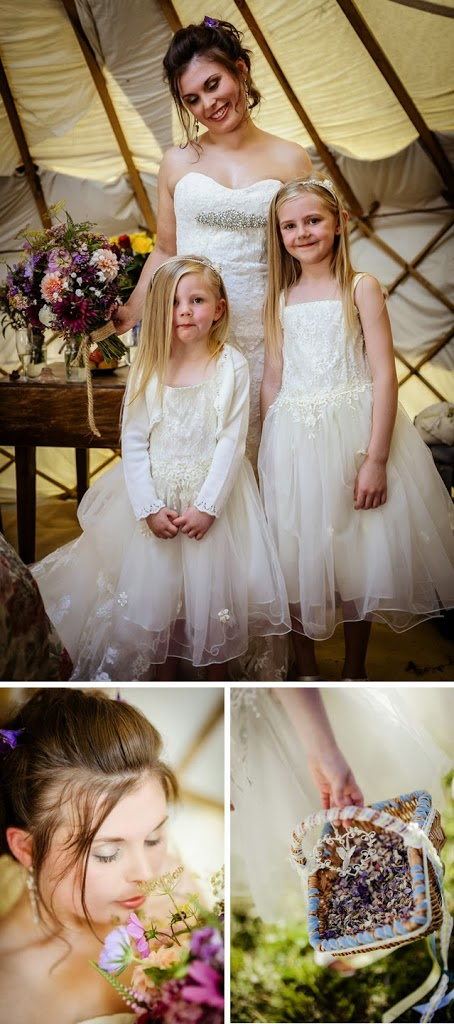 bride and flower girls in yurt