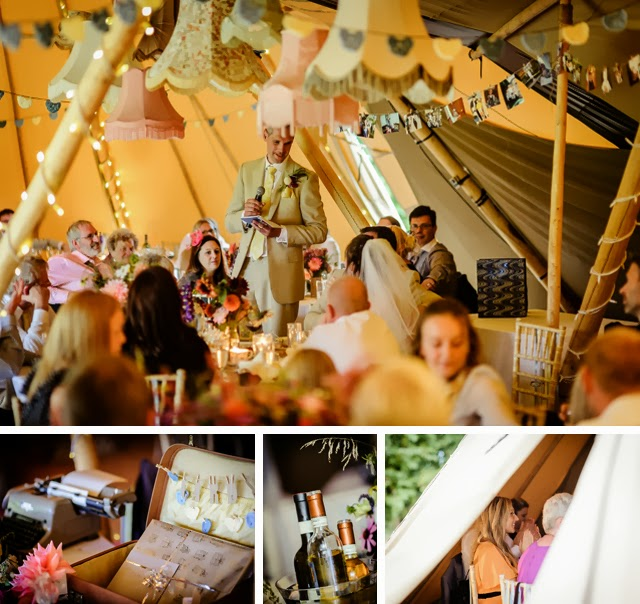 tipi wedding reception with vintage lampshades