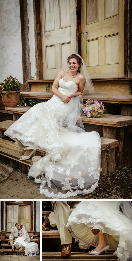 rustic festival bride sat on wooden steps