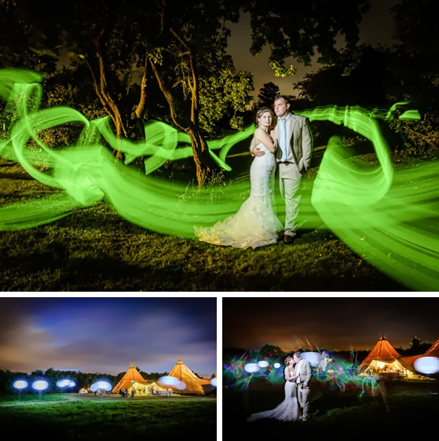 tipi and yurt wedding light painting photography