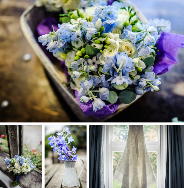 light blue rustic wedding flowers