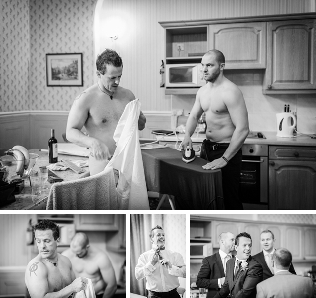 groomsmen ironing shirts for wedding
