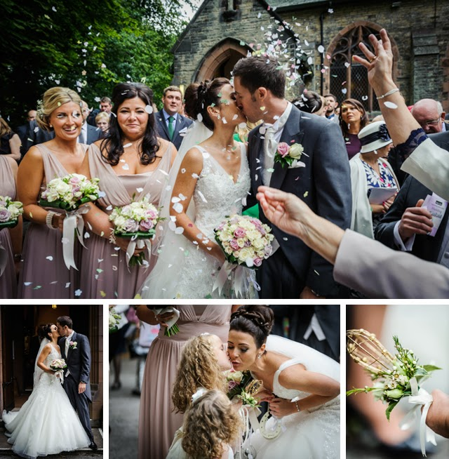 Lancashire bolton wedding confetti outside church