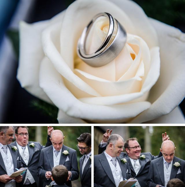wedding rings and groomsmen laughing joking