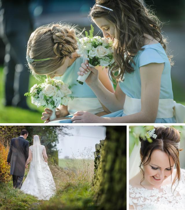 bridemaids sniffing wedding flowers