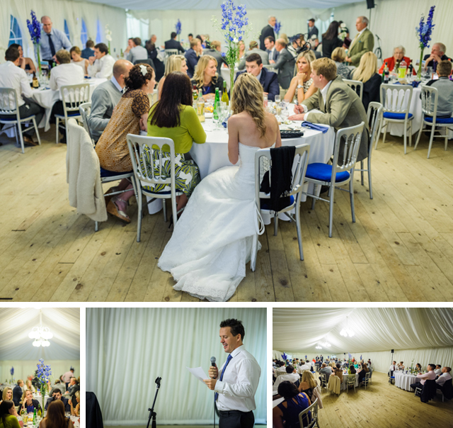 Hargate Hall wedding reception in marquee blue flowers