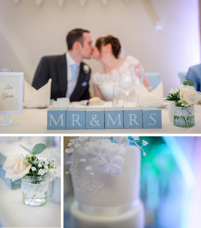 white and duck egg blue wedding