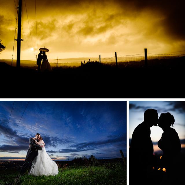 Saddleworth sunset wedding photograph