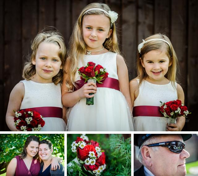 white and red sash flower girls