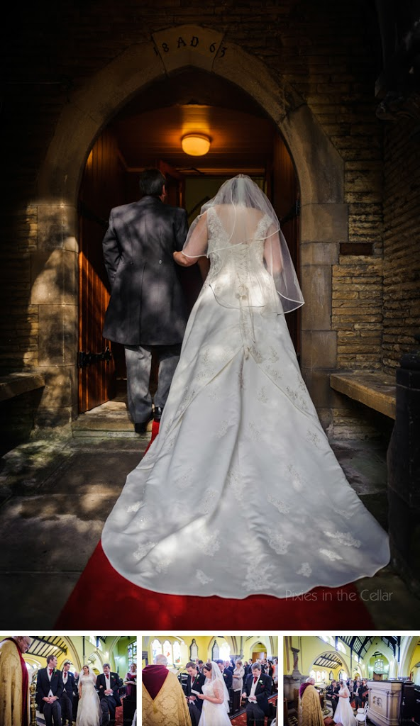 bride arriving in church from behind