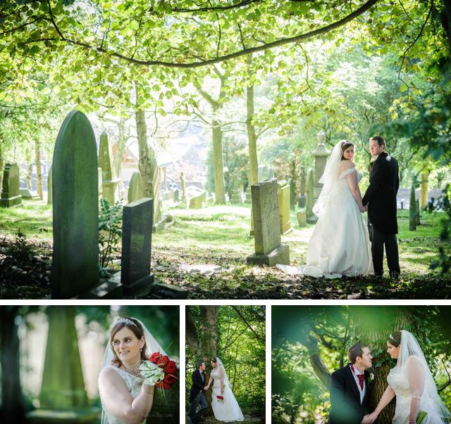 bride groom in churchyard denshaw
