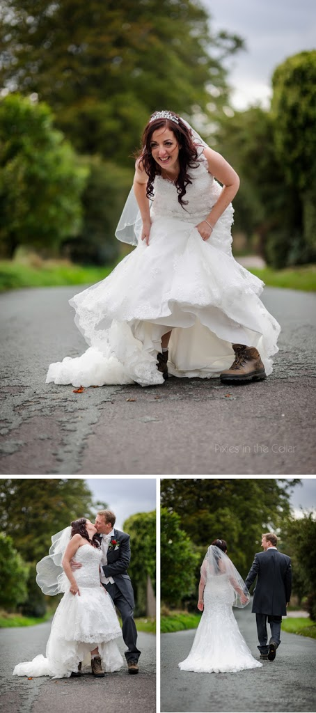bride in walking boots