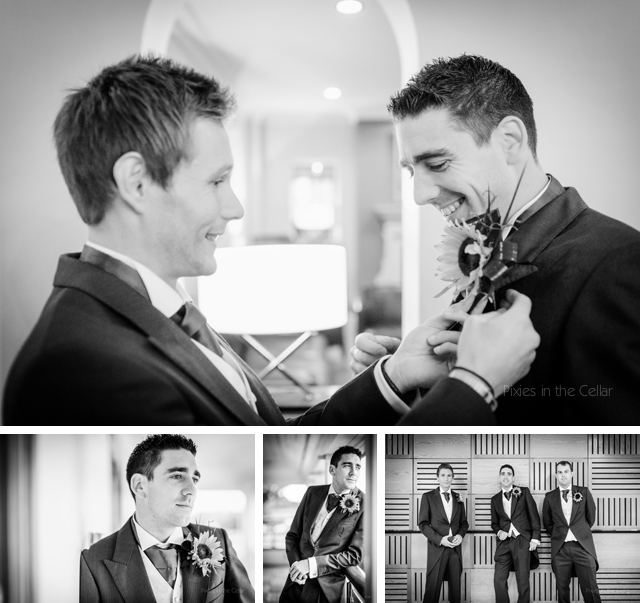 groomsmen and sunflower button holes