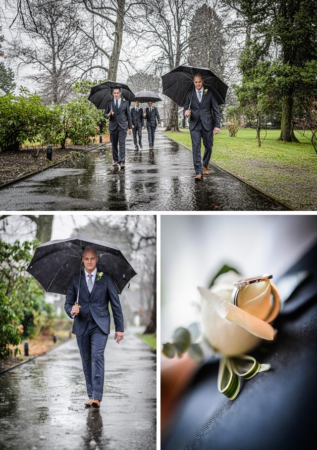 Rainy Lake District Winter Wedding groomsmen