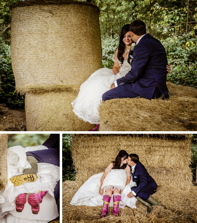 Farm hay bales wedding photographs