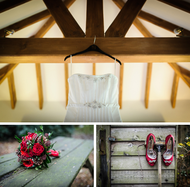 Red bridal shoes, Moss Wood cottage bridal prep