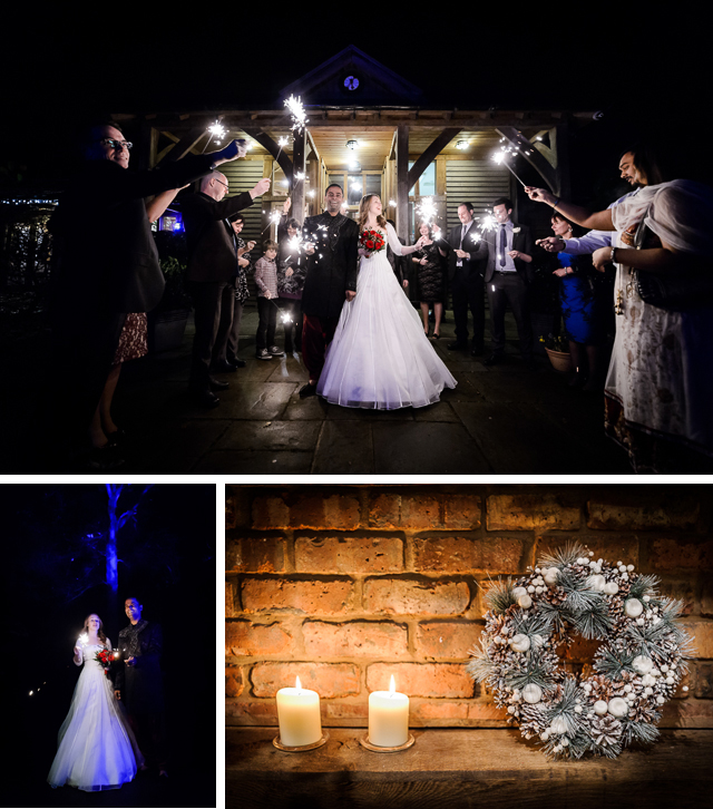 Winter Wedding at Peover Golf Club, Sparklers