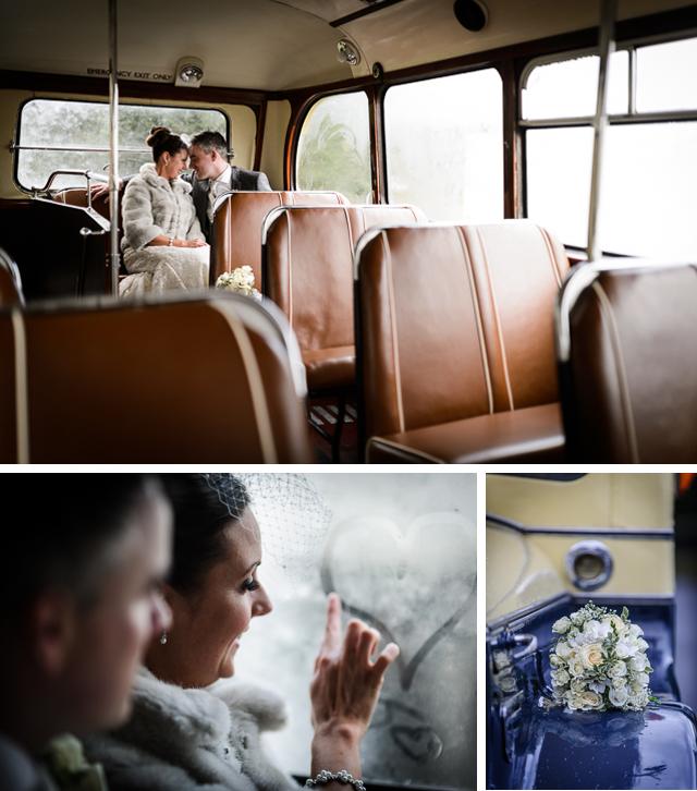 Winter wedding double decker bus