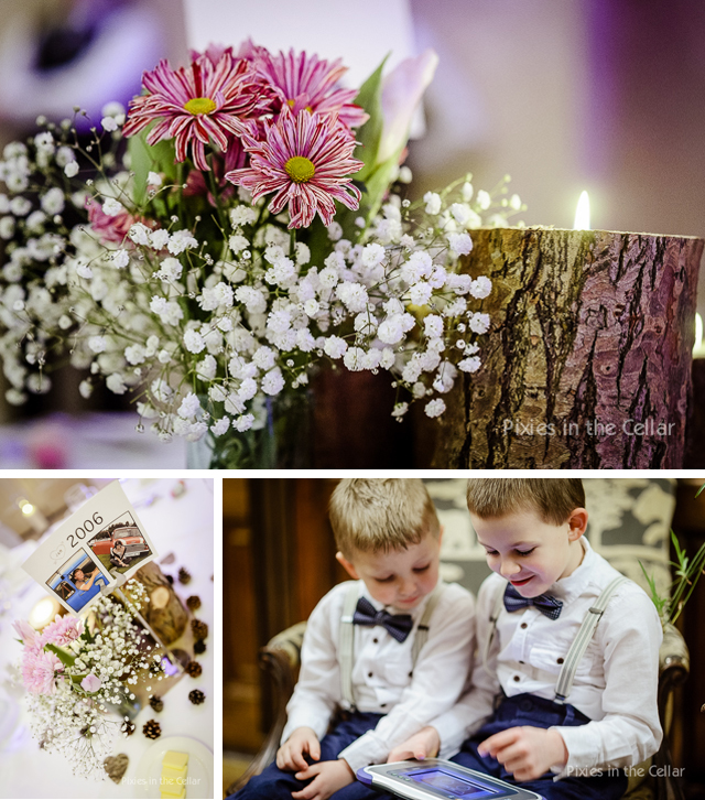 page boys with bow ties and table flowers