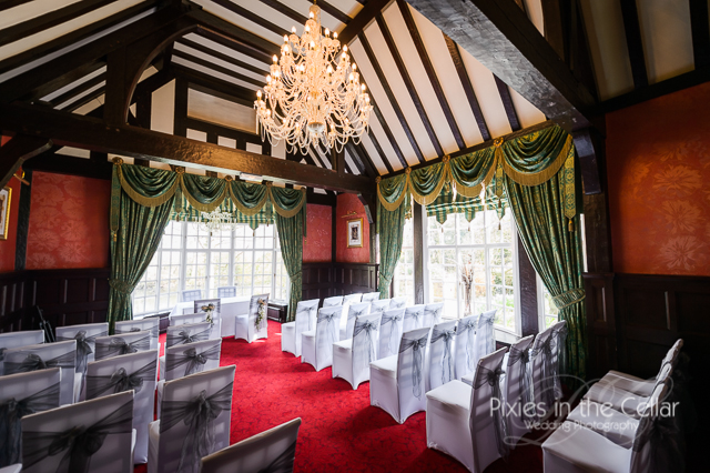 mere court hotel wedding ceremony white grey