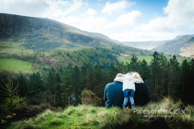 family hug Dovestones engagement shoot