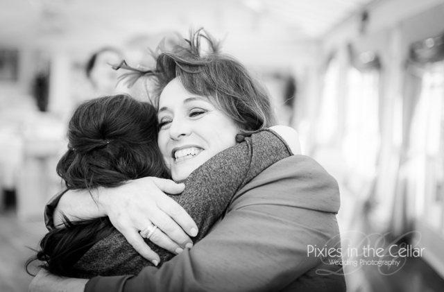 bride and auntie hug