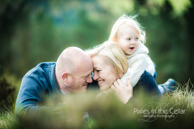Countryside engagement shoot with daughter