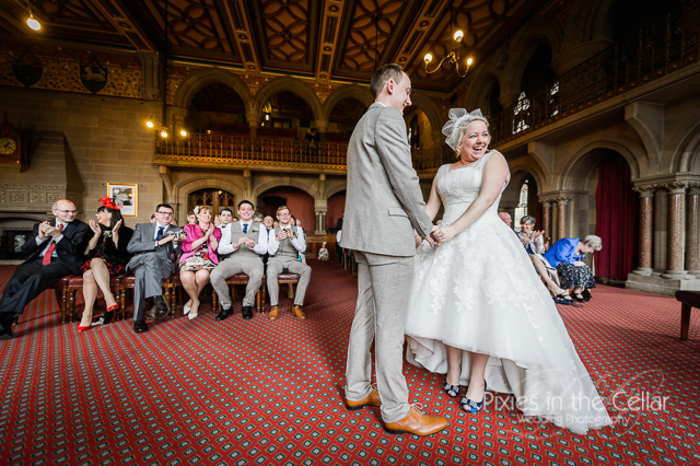 Manchester bride groom ceremony laughter
