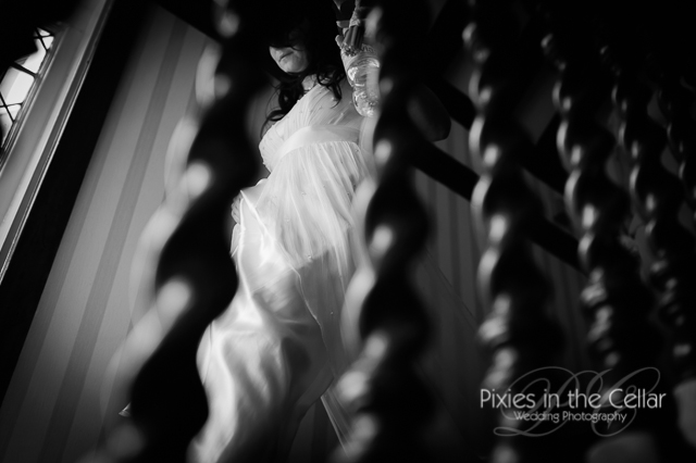 bride coming down stairs abstract