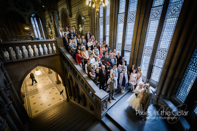 Manchester town hall wedding group photo