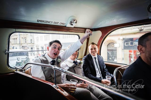 groomsmen on bus