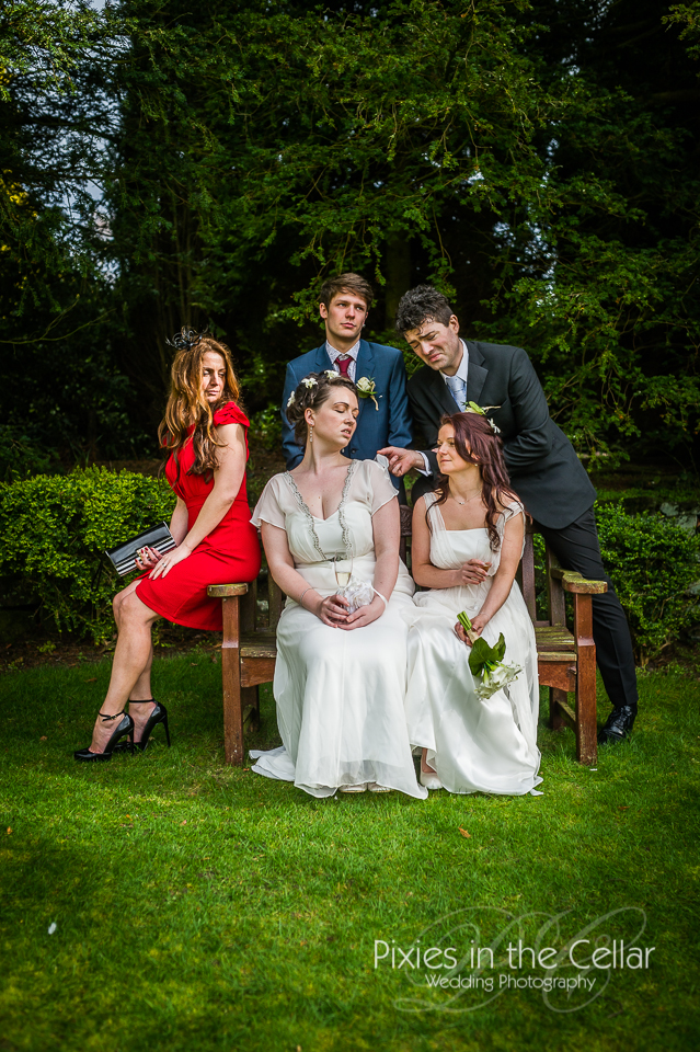 alternative wedding group photo miserable