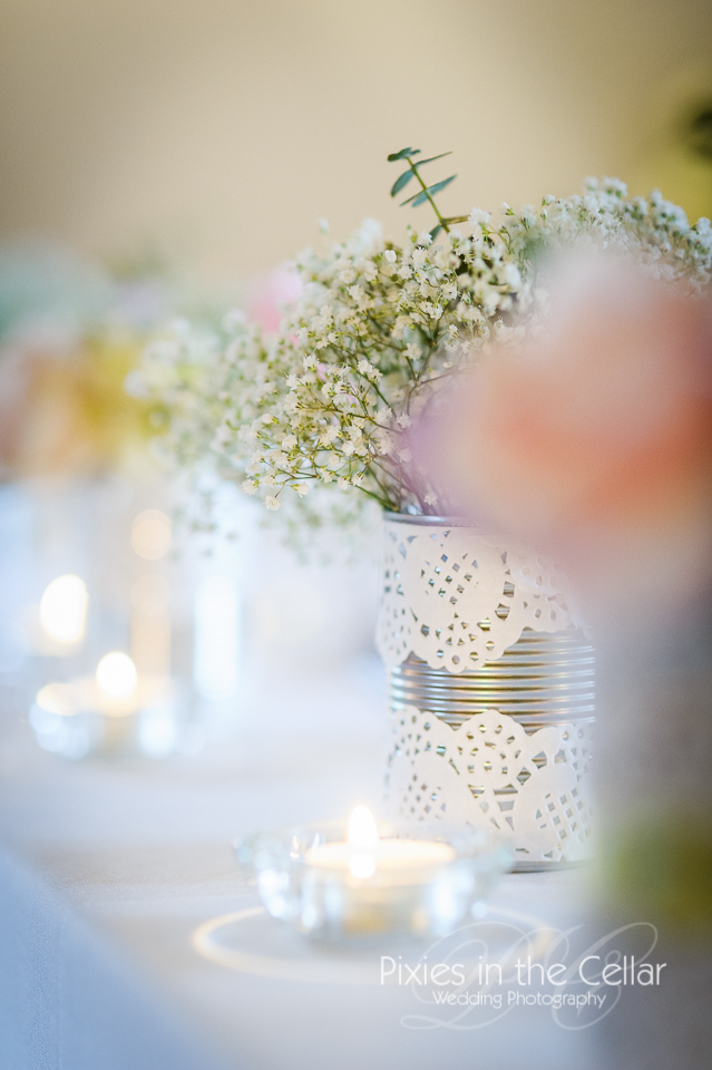 tin can and doily flower vase wedding