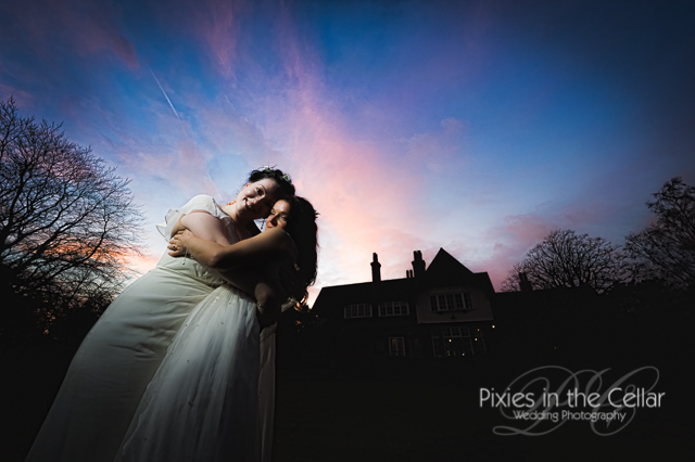 bride and bride evening wedding photograph