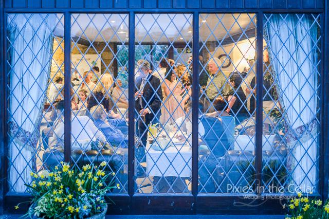 hyde bank farm wedding reception through window