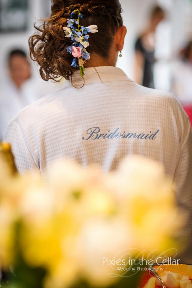 Bridesmaid hair detail blue
