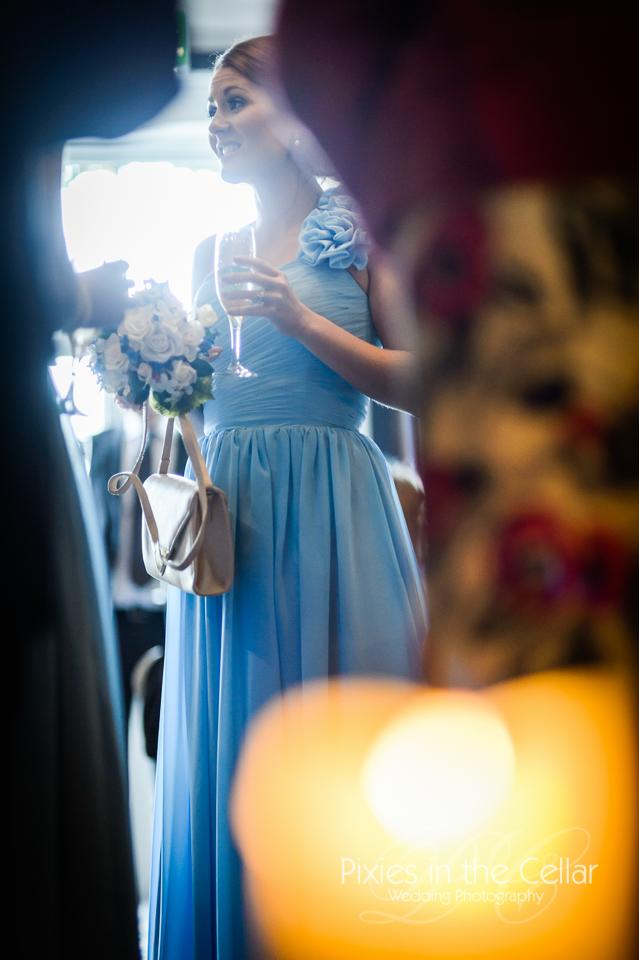 blue bridesmaid in sunlight
