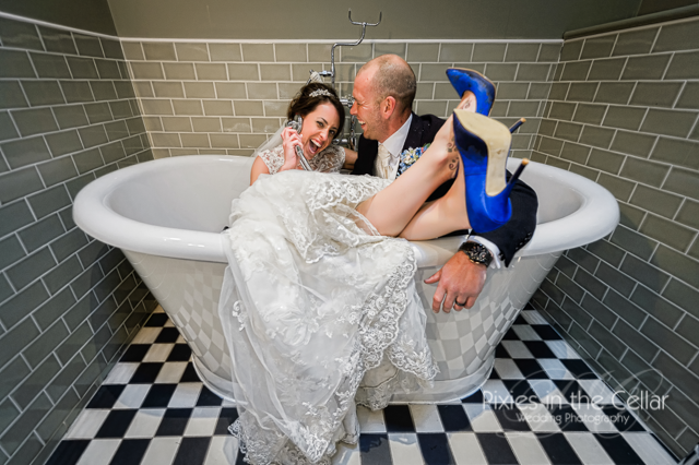 bride and groom in bath