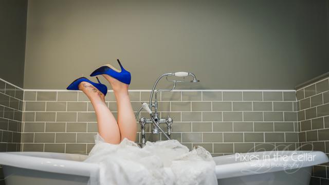 bride in bath