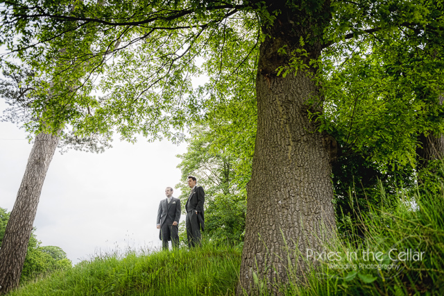 groom and best man in trees cheshire