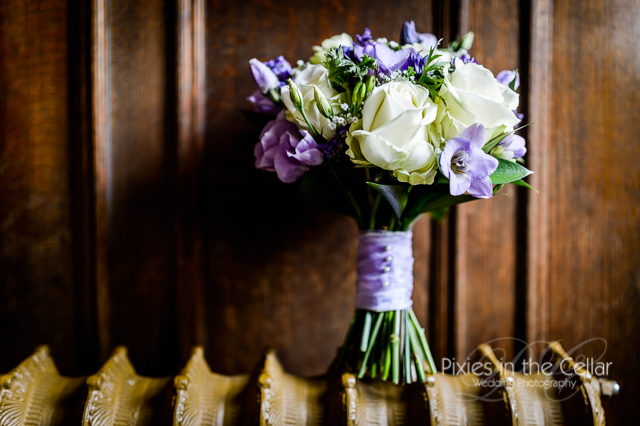 white and lilac bridal bouquet