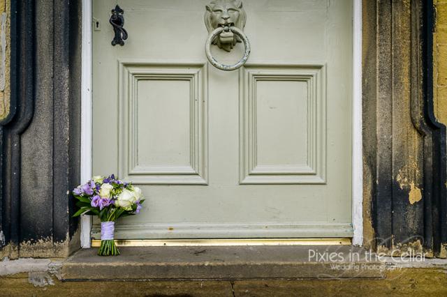 bridal bouquet at door