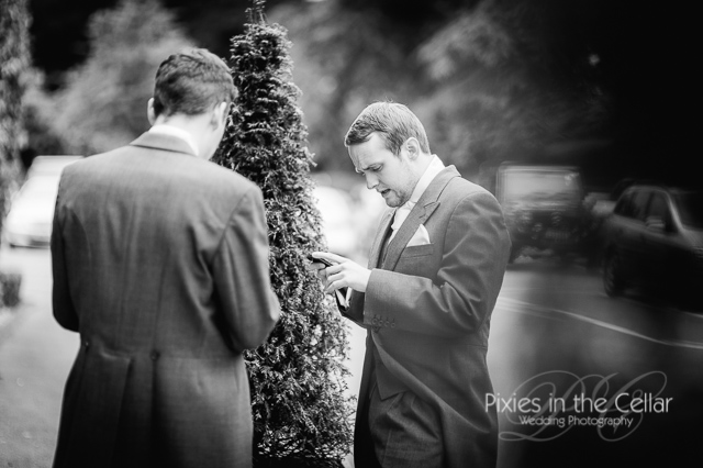 groom on phone