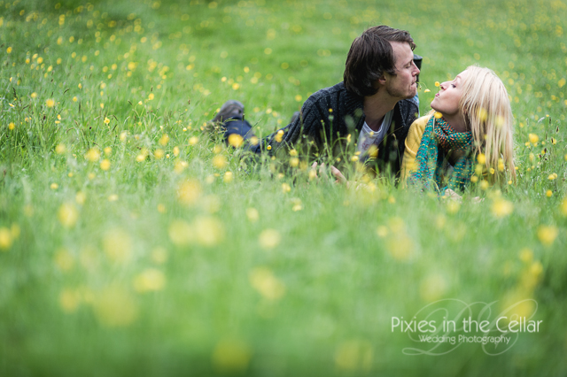 Engagement shoot Derbyshire buttercup field