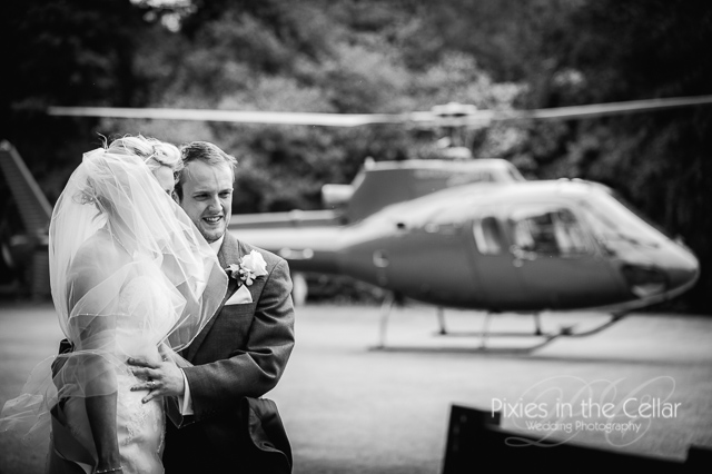 helicopter at Mere court hotel wedding