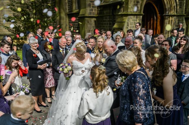 confetti yorkshire church wedding