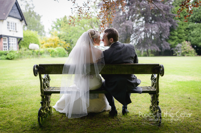 bride groom on bench