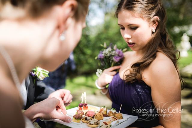 wedding canapes and bridesmaid
