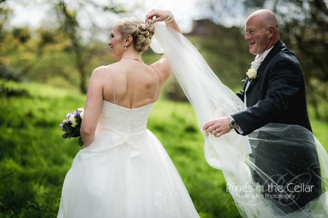 bride  groom and veil